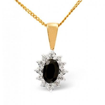9K Gold 0.04ct Diamond & 6mm x 4mm SAPHIRE Pendant, Z1026